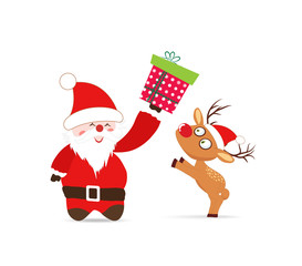 Santa claus and deer, gift greeting card