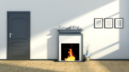 interior with fireplace and vase