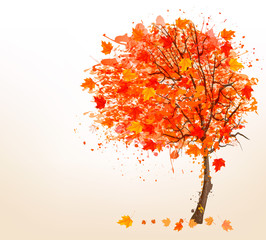 Autumn background with colorful leaves and a tree. Vector illust