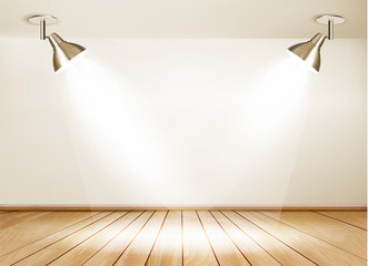 Showroom with wooden floor and two lights. Vector.