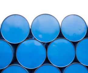 close up oil barrels
