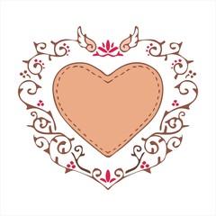 heart ornament vintage style vector