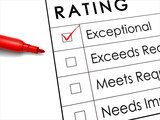 exceptional check box with red pen over rating survey poster