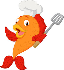 Cartoon chef fish holding spatula