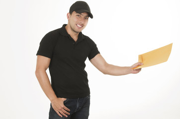 happy friendly confident delivery man with envelope