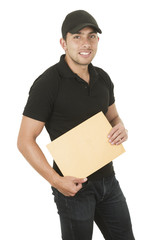happy friendly confident delivery man holding manila envelope