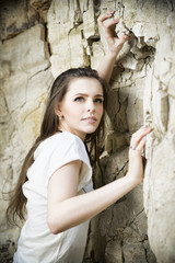 Portrait of a beautiful young woman climber.