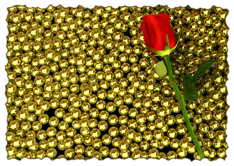 red rose and glossy golden speres on background
