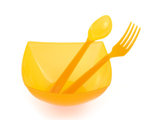 plastic bowl , fork , and spoon