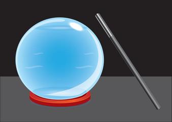 Crystal ball and magic wand