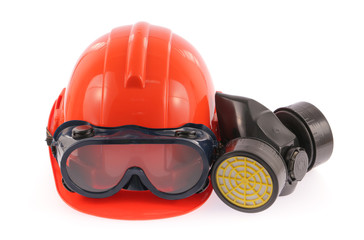Collection of Helmet, Chemical protective mask and eye protectio