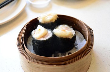 Hot Dimsum on a Wood Basket
