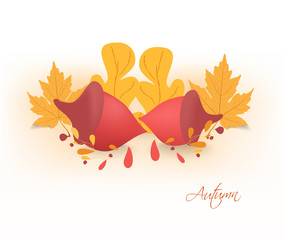 autumn background with acorns and leaves