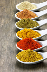 Assorted powder spices