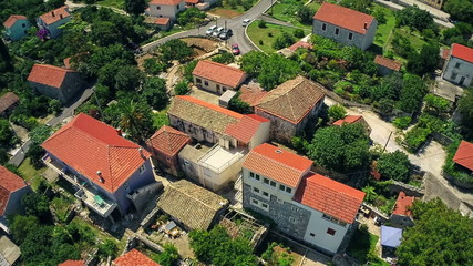 Village on Peljesac peninsula, aerial