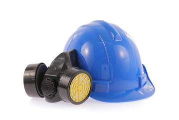 Blue safety helmet and chemical protective mask