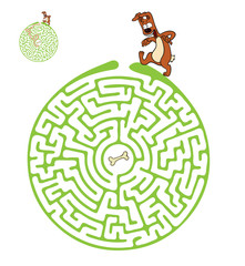 Vector Maze, Labyrinth with Dog.