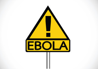 road warning exclamation point warns about Ebola virus concept