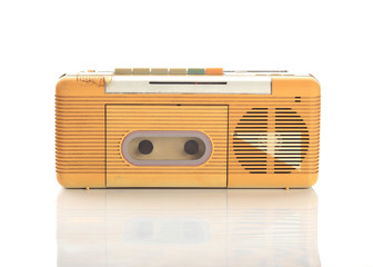music radio cassette on white background
