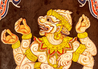 Hanuman painting on the wall. This is typical of Thai traditiona
