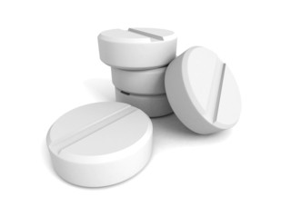 White medical drug painkill pills