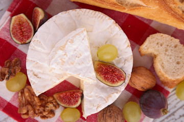 cheese, fig and grapes