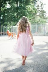 A girl walking away