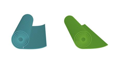 Yoga mats isolated on white background, vector illustration