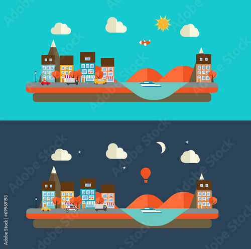 Autumn urban landscape vector illustration. City at day and at