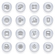 Communication icons with glossy buttons.
