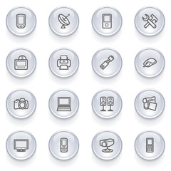 Electronics icons with glossy buttons.