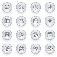 Audio video icons with glossy buttons.