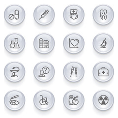 Medicine icons with glossy buttons.