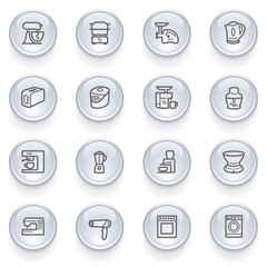 Home appliances icons with glossy buttons.
