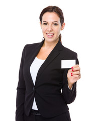 Businesswoman hold with blank of name card