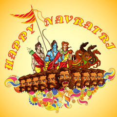 Lord Rama,Laxmana and Sita with Ravana in Happy Dussehra