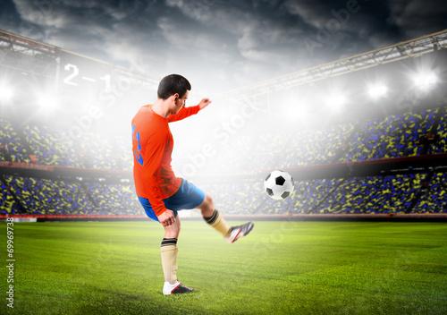 Foto op Canvas Stadion soccer player