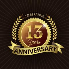 Celebrating 13 Years Anniversary - Laurel Wreath Seal & Ribbon