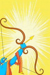 Rama with bow and arrow in Happy Dussehra Offer poster