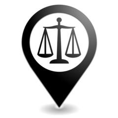 justice sur symbole localisation noir