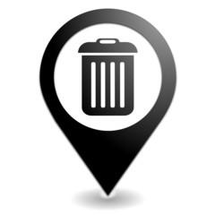 poubelle sur symbole localisation noir
