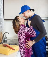Woman having flirt with worker