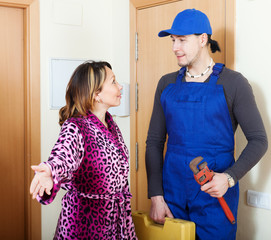 Woman meeting service worker