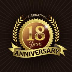 Celebrating 18 Years Anniversary - Laurel Wreath Seal & Ribbon