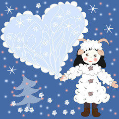 Holiday card, a girl dressed as a sheep with heart
