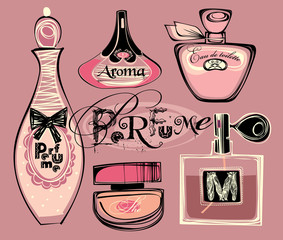 Vector illustration of porfume bottles
