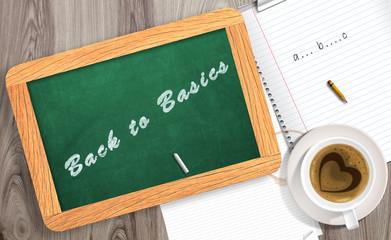 Chalkboard stating Back to basics