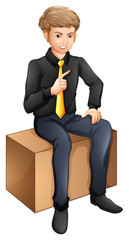 A businessman sitting down