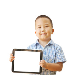 Asian boy 6 years with tablet computer, isolated on white backgr