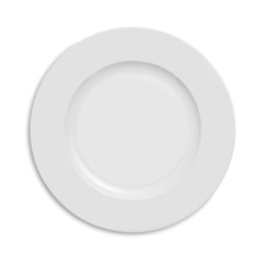 Empty plate on white.with clipping path